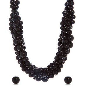NWT Black Beaded Torsade Necklace and Earring Set